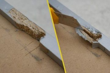 Remove loose parts of the torn chipboard